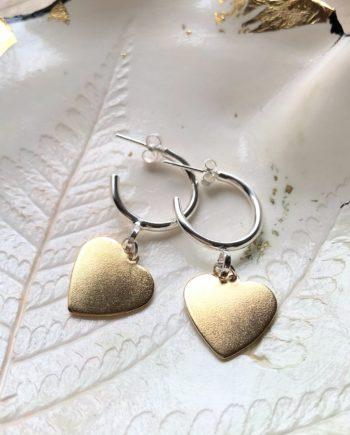 Silver & Brass Heart Hoops